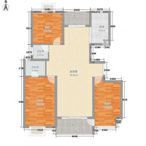新城府翰苑3室0厅2卫1厨113.60㎡户型图