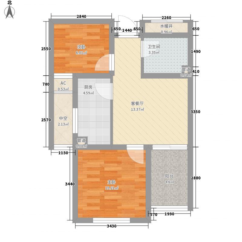 福临万家64.76㎡标准层G5户型2室1厅1卫