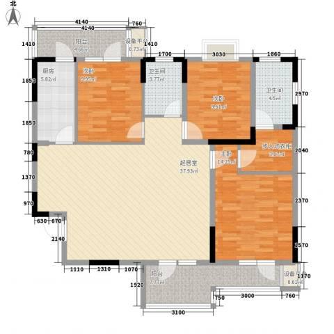 中御公馆3室0厅2卫1厨123.00㎡户型图