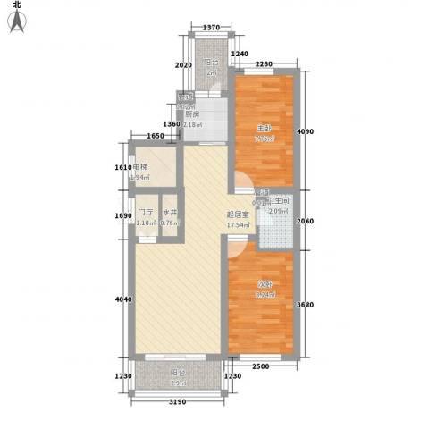 日出印象茗苑2室0厅1卫1厨72.00㎡户型图