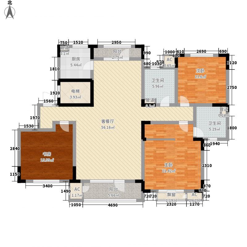 津滨藏锦156.00㎡标准层3-D户型3室2厅2卫1厨