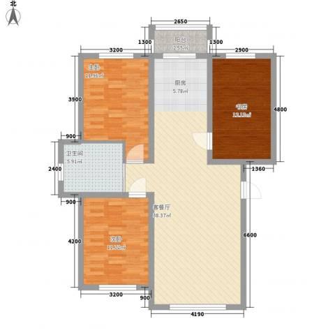 万龙第五城3室1厅1卫0厨102.00㎡户型图