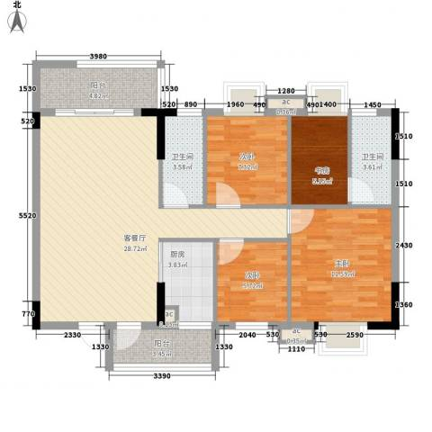 银丰花园4室1厅2卫1厨90.02㎡户型图
