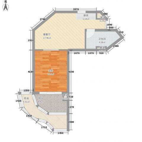世茂・怒放海1室1厅1卫0厨65.00㎡户型图