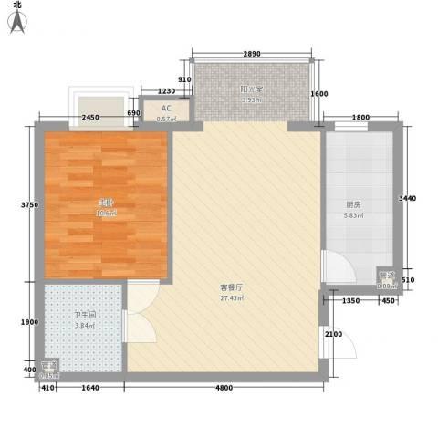 宏达花园别墅1室1厅1卫1厨68.00㎡户型图