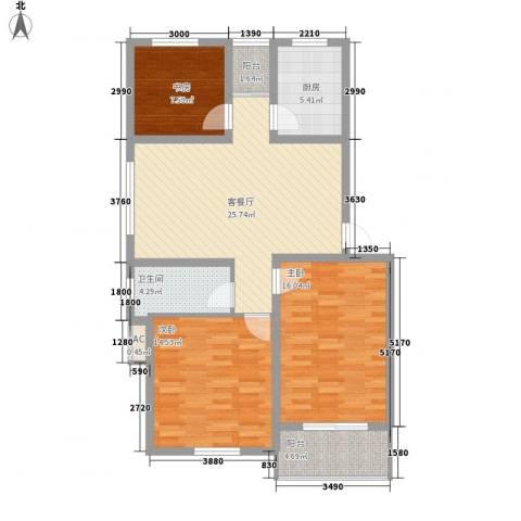 丽和阳光城3室1厅1卫1厨108.00㎡户型图