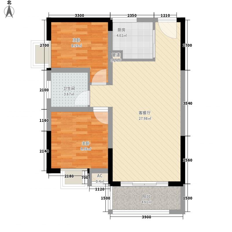 时代云龙城8.00㎡8栋03户型2室2厅1卫1厨