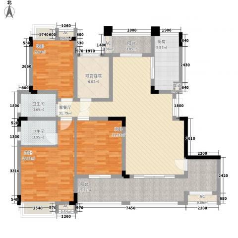 麒川时代广场3室1厅2卫1厨159.00㎡户型图