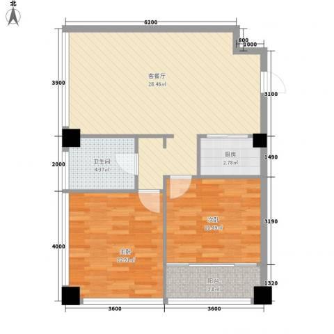 龙海国际2室1厅1卫1厨62.93㎡户型图
