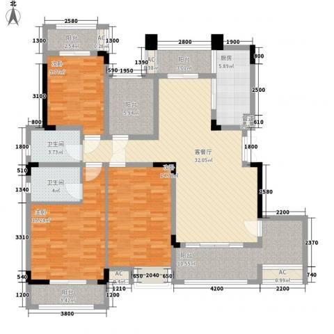 麒川时代广场3室1厅2卫1厨166.00㎡户型图