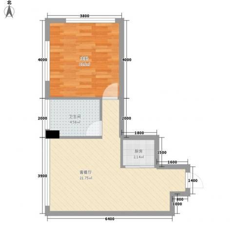 龙海国际1室1厅1卫1厨60.00㎡户型图