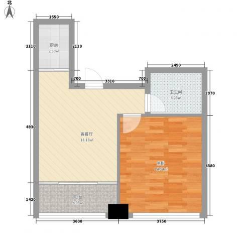 龙海国际1室1厅1卫1厨41.69㎡户型图