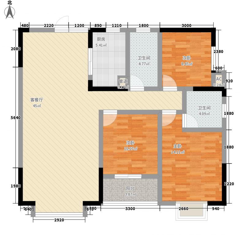 时代云龙城125.76㎡7栋01户型3室2厅2卫1厨