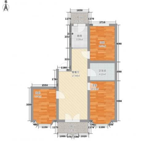欧美亚世界阳光3室1厅1卫1厨83.00㎡户型图