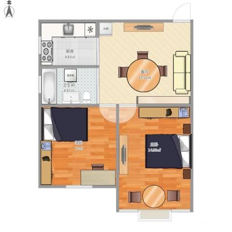 龙柏三村2室1厅1卫1厨69.00㎡户型图