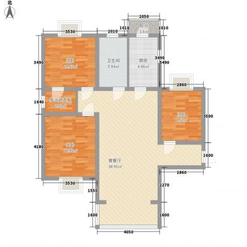 卢湾滨江时代3室1厅1卫1厨125.00㎡户型图