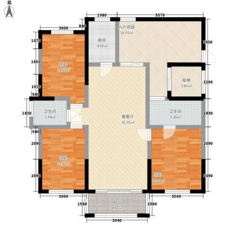 伊比亚河畔3室1厅2卫1厨122.30㎡户型图