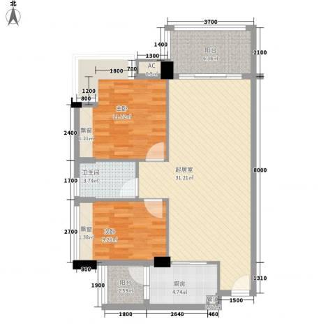 都市阳光2室0厅1卫1厨102.00㎡户型图