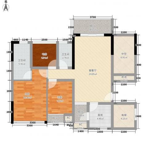 鼎峰品筑二期3室1厅2卫1厨87.00㎡户型图