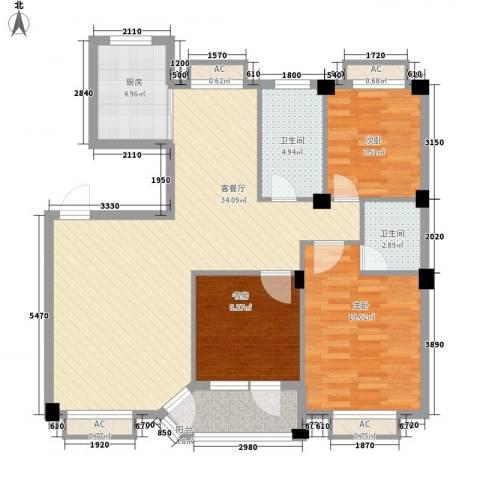 水尚阑珊3室1厅2卫1厨118.00㎡户型图