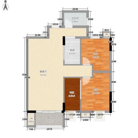 银丰花园3室1厅1卫1厨80.03㎡户型图