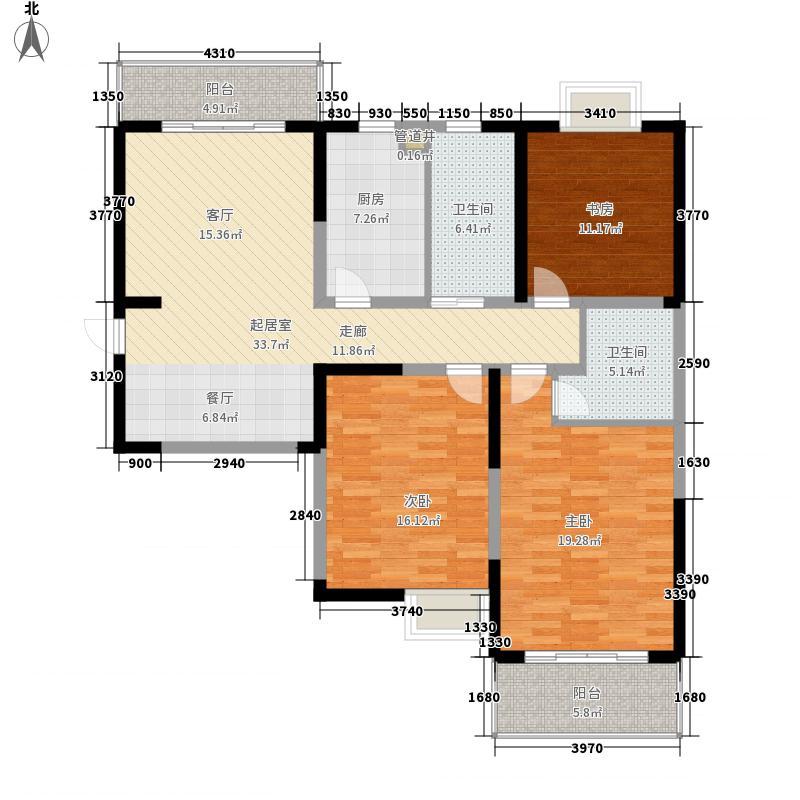 凤翔馨城123.00㎡5#楼M9户型3室2厅2卫