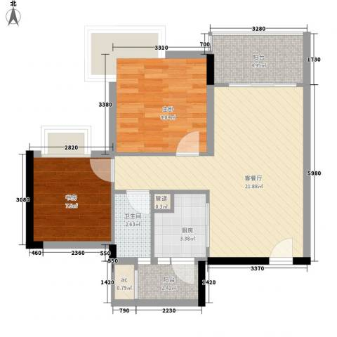 精英世家2室1厅1卫1厨68.00㎡户型图