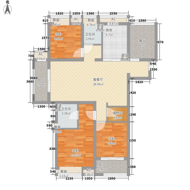 九龙仓时代上城户型图二期2#3#5#6#A4户型 4室2厅2卫1厨