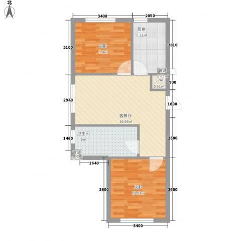 新城丽景2室1厅1卫1厨69.00㎡户型图