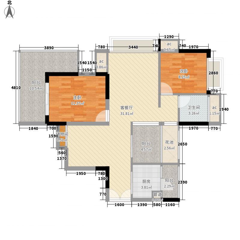 招商花园城4.80㎡八栋1单元0户型2室2厅1卫1厨