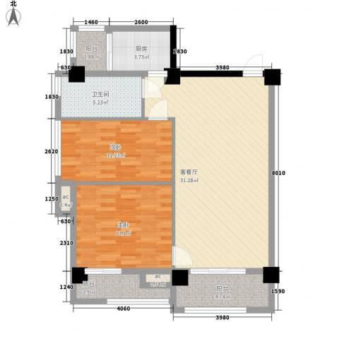 伊比亚河畔2室1厅1卫1厨86.72㎡户型图