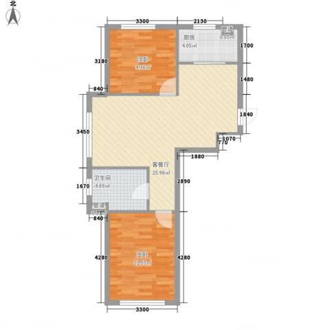 新城丽景2室1厅1卫1厨76.00㎡户型图