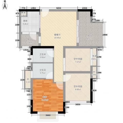 招商花园城1室1厅2卫1厨73.49㎡户型图