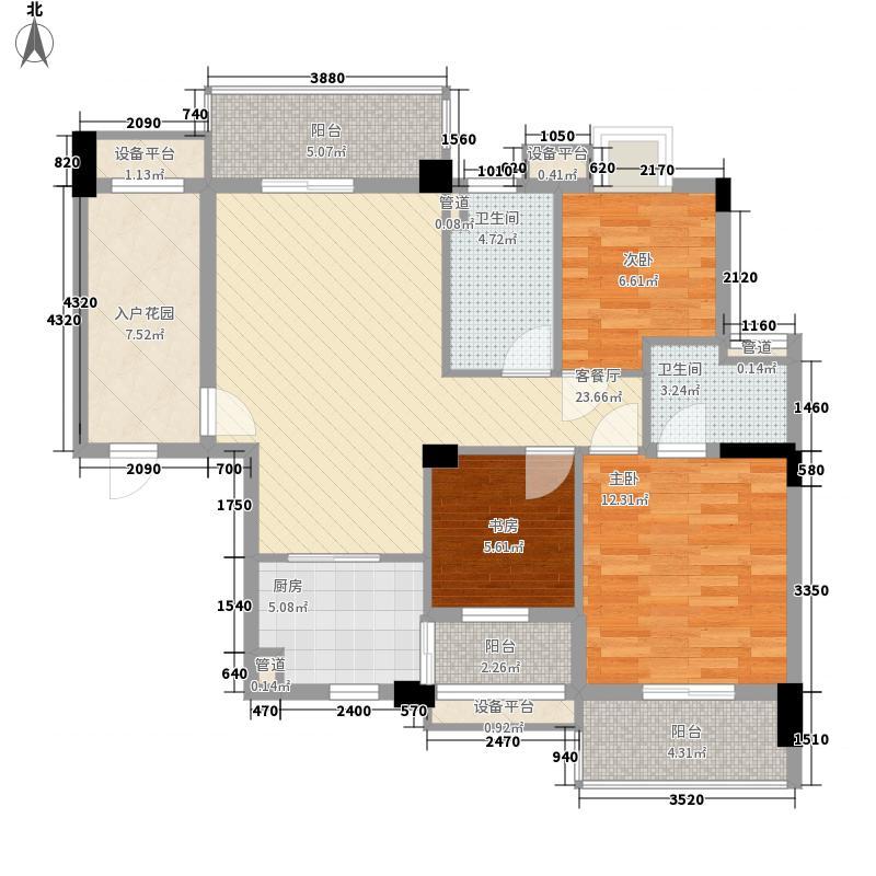 山水檀溪二期13.50㎡佳园G2户型3室2厅2卫1厨