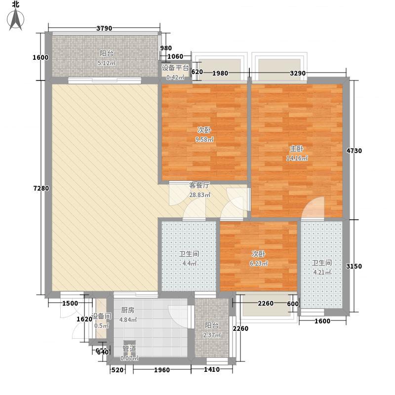 西江月1.53㎡19、20、21栋2~17层B1户型3室2厅2卫1厨