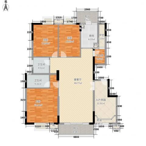 清华居3室1厅2卫1厨150.00㎡户型图