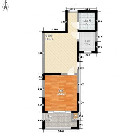 伊比亚河畔1室1厅1卫1厨53.05㎡户型图