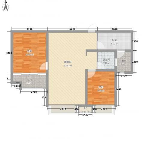 鲁商常春藤荷花园2室1厅1卫1厨106.00㎡户型图