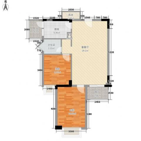 金榜名苑2室1厅1卫1厨92.00㎡户型图