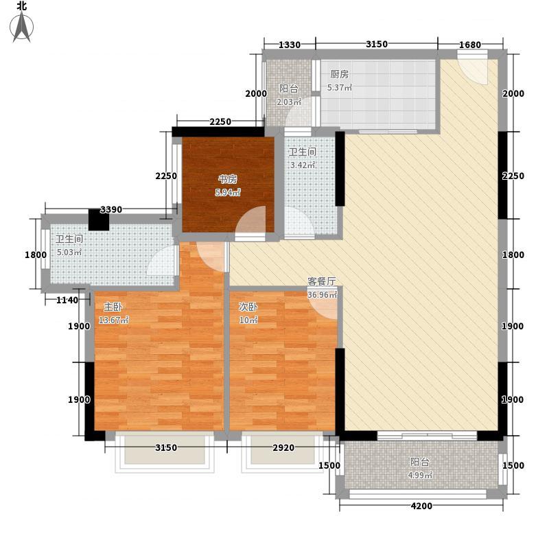 钜隆风度盛荟广场115.21㎡2栋04单元户型3室2厅2卫1厨