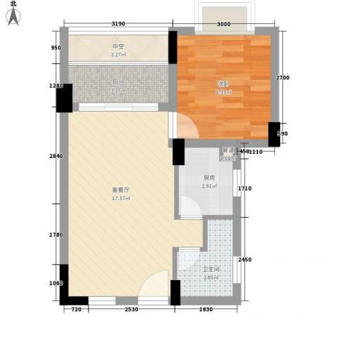 合兴福邸1室1厅1卫1厨37.04㎡户型图