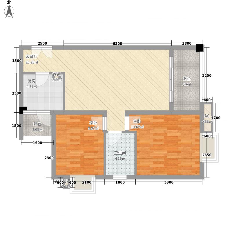 龙湖嘉誉8.00㎡E3户型2室2厅1卫1厨