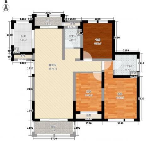 大唐五星公寓3室1厅2卫1厨114.00㎡户型图