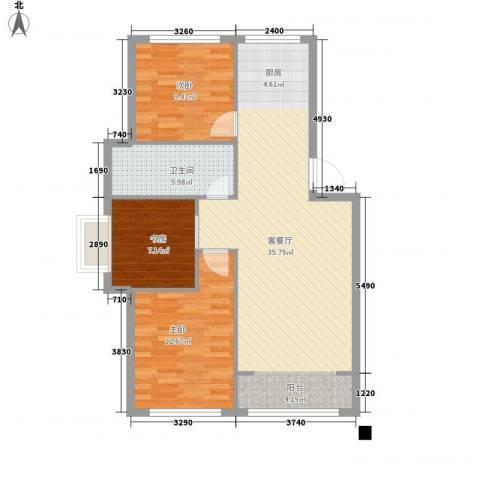 山水鑫苑3室1厅1卫0厨98.00㎡户型图