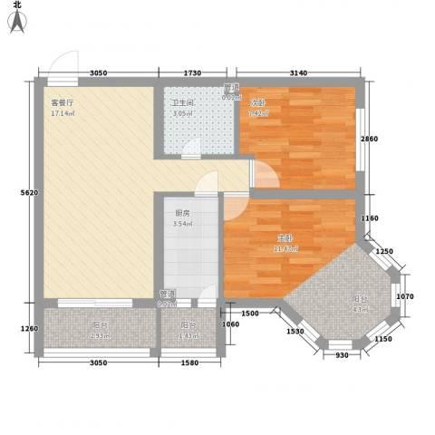 英伦名邸2室1厅1卫1厨72.00㎡户型图
