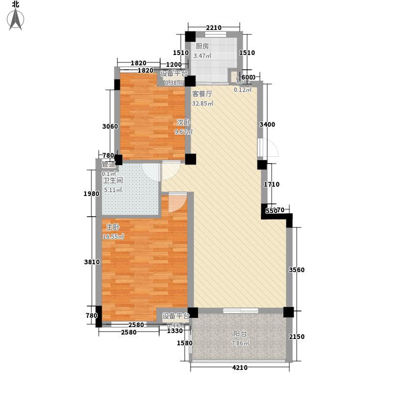 山水檀溪二期85.23㎡明园A7户型2室1厅1卫1厨