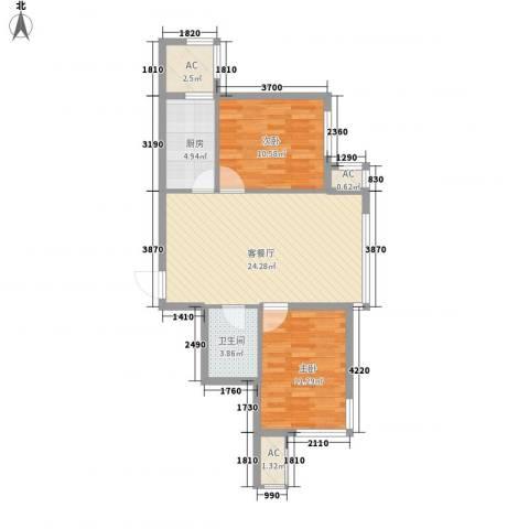 甘井子安邦阳光润城2室1厅1卫1厨86.00㎡户型图