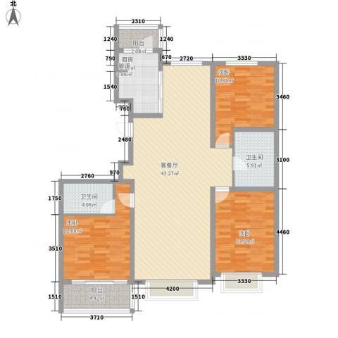 伟东新都3室1厅2卫1厨147.00㎡户型图