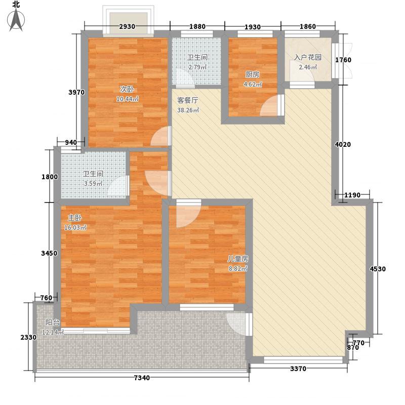 广田悦城01户型3室2厅2卫1厨