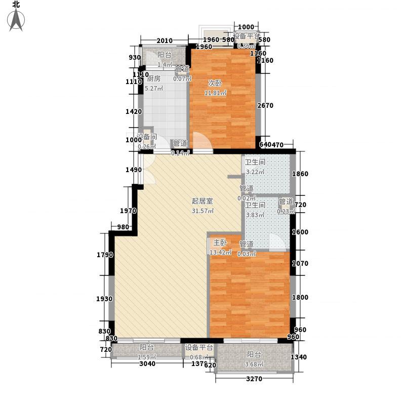 金隅丽港城110.22㎡14#C户型3-8层户型2室2厅2卫1厨